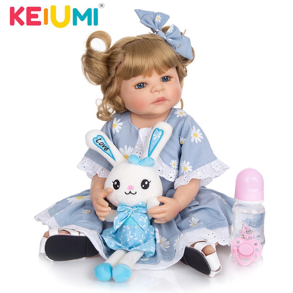 KEIUMI 22 Inch Baby Dolls Newborn Silicone Full Body Toy Lovely Princess Bebe Reborn For Girl  Children Birthday Christmas Gifts